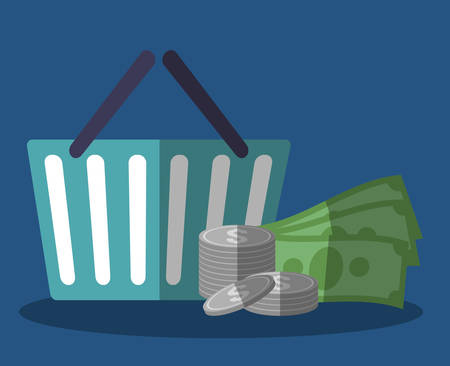 simple store: money and shopping basket icon over blue background. colorful design. vector illustration