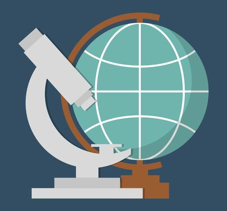 geography globe ans microscope tool  icon over blue background. colorful design. vector illustration Illustration