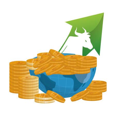 bull wall street money coins vector illustration eps 10