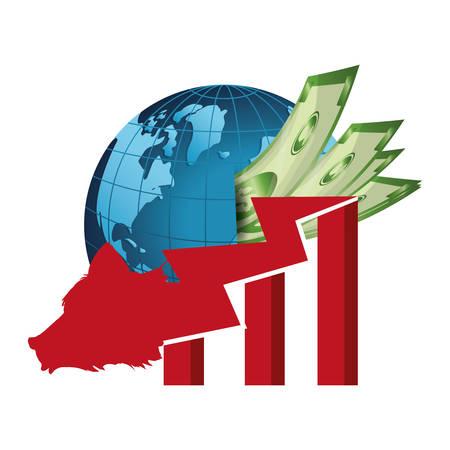 bear falling investing vector illustration