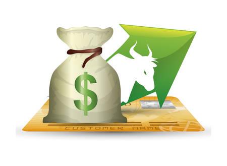 wall street bull credit card money cash vector illustration eps 10