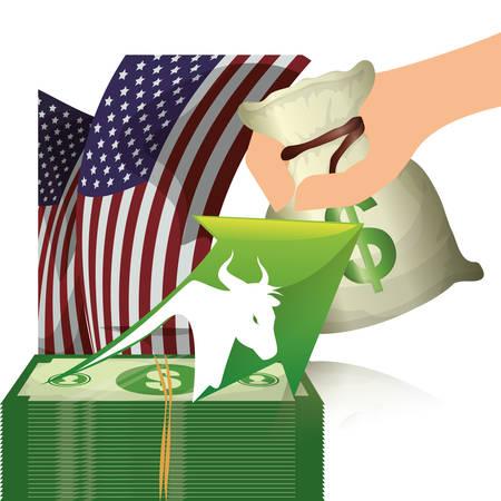 bull money finance usa vector illustration