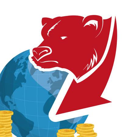 wall street bear world money vector illustration eps 10