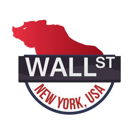 stockexchange: wall street new york bear vector illustration eps 10