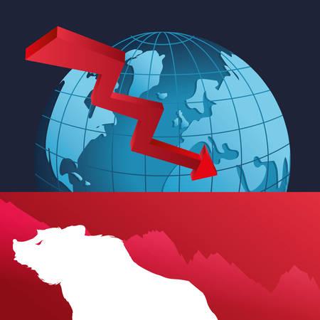 wall street bear world finance down vector illustration eps 10 Illustration
