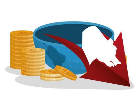 bear down economy coins vector illustration Illustration