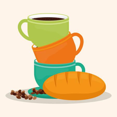 handful: coffee cup bread dessert bean vector illustration eps 10 Illustration