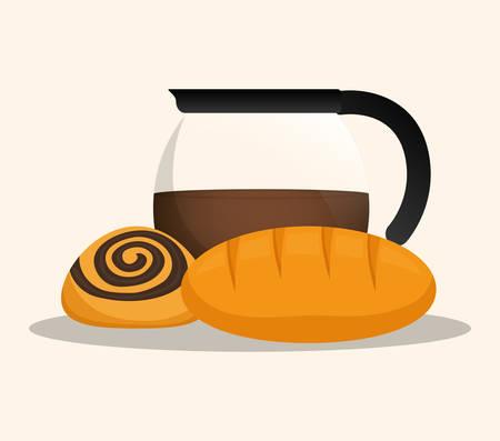 bake sale: coffee maker products bakery vector illustration eps 10 Illustration