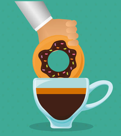 hand holding donut with coffee cup vector illustration