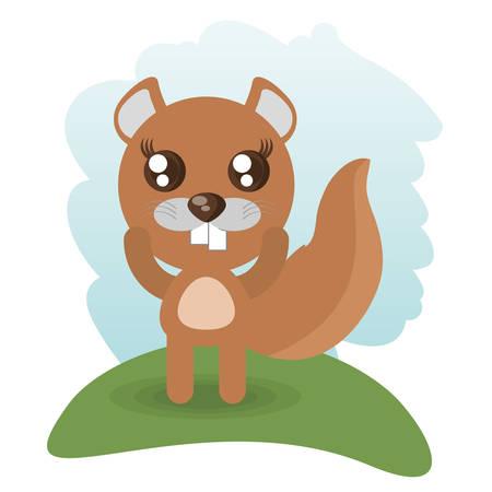 cute beaver animal wildlife vector illustration