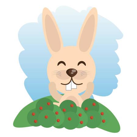 cute rabbit animal winking vector illustration