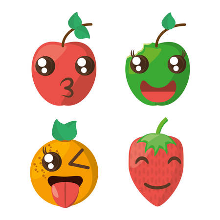 kawaii fruits cheerful collection vector illustration eps 10 Illustration