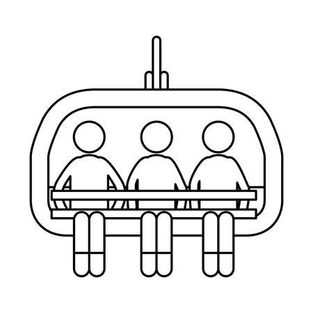 chairlift: Ski lift chairs icon vector illustration graphic design. Illustration