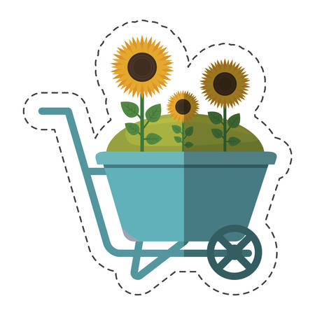 wheelbarrow with beautiful flowers over white background. colorful design. vector illustration