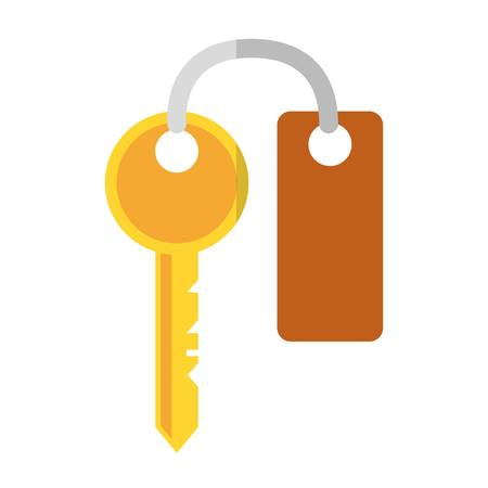 keyword: key with keychain, icon over white background. colorful design. vector illustration