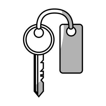 keyword: key with keychain, icon over white background. vector illustration