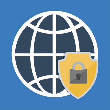 lcd: Global shield and padlock icon. Security system warning and protection theme. Colorful design. Vector illustration