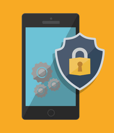 Smartphone shield and padlock icon. Security system warning and protection theme. Colorful design. Vector illustration
