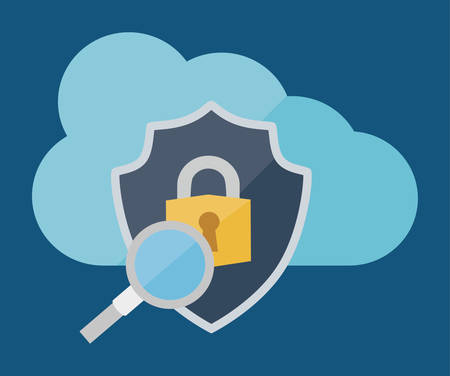 Cloud shield lupe and padlock icon. Security system warning and protection theme. Colorful design. Vector illustration