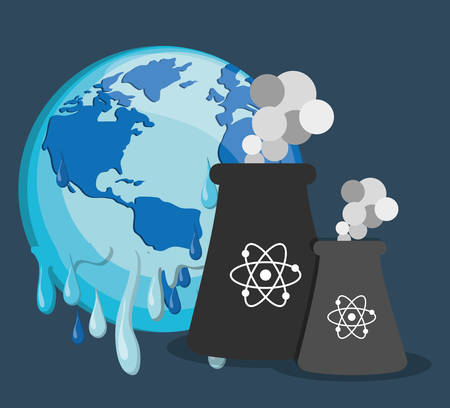 poison: planet melting global warming related icons image vector illustration design Illustration