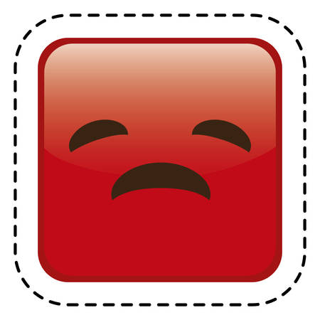 hilarious: sad cartoon face in square shape icon over white background. colorful design. vector illustration