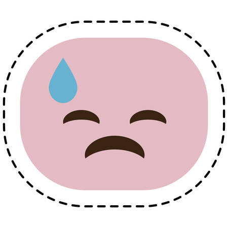 sad cartoon face icon over white background. colorful design. vector illustration Illustration