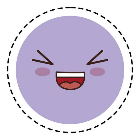 hilarious: kawaii happy face icon over white background. colorful design. vector illustration