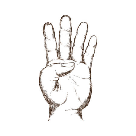Hand number symbol icon vector illustration graphic design