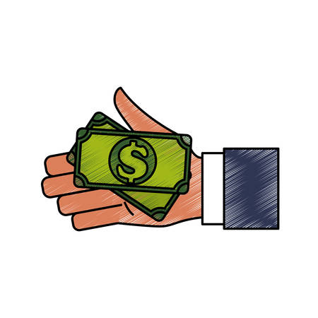 hand holding paper: Hand with cash icon vector illustration graphic design