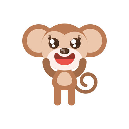 cute dog: monkey animal toy vector illustration