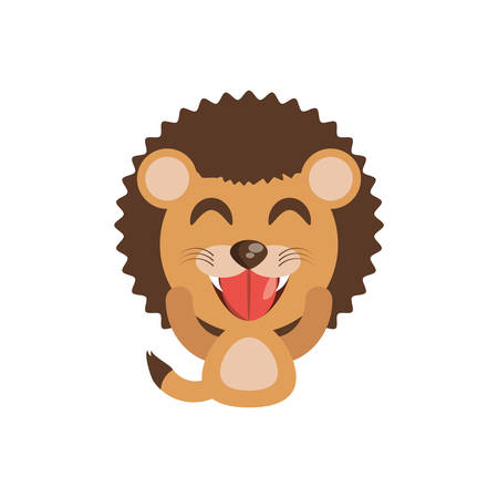 cute lion animal character funny vector illustration eps 10