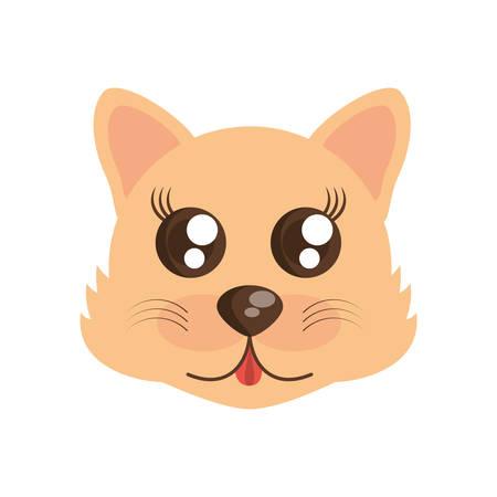 kawaii face wolf animal fun vector illustration eps 10