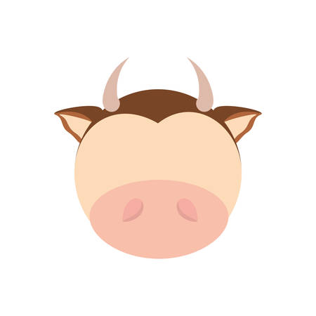 A head cute cow animal image vector illustration eps 10