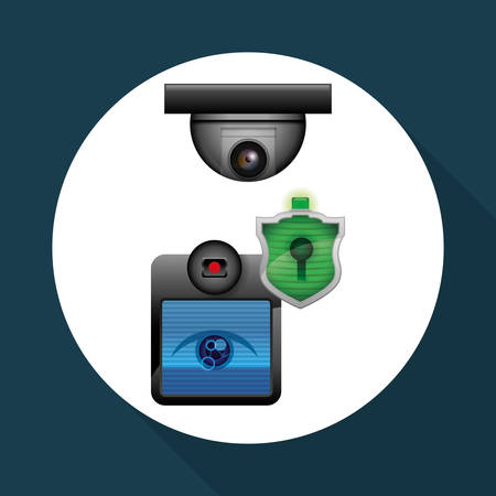 lcd: Security System concept with icon design. Illustration