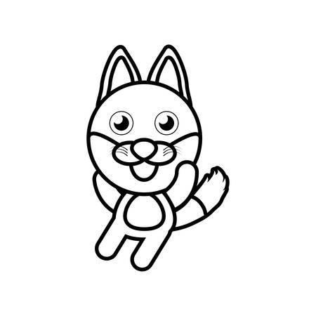 sneaky: Cartoon fox animal outline vector illustration
