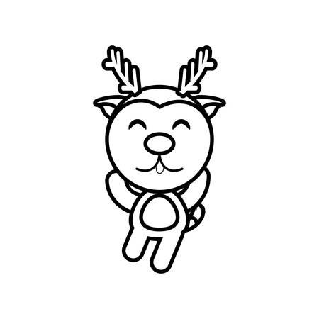 Cartoon reindeer animal outline vector illustration eps 10 Illustration