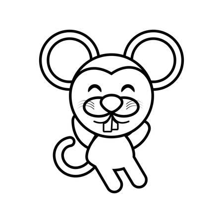 Cartoon mouse animal outline vector illustration eps 10 Ilustração