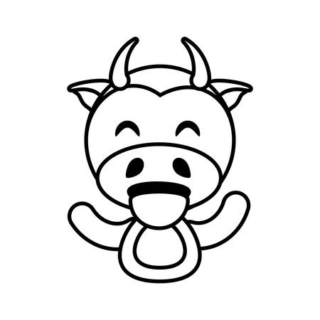 funny baby: cow animal toy outline vector illustration eps 10