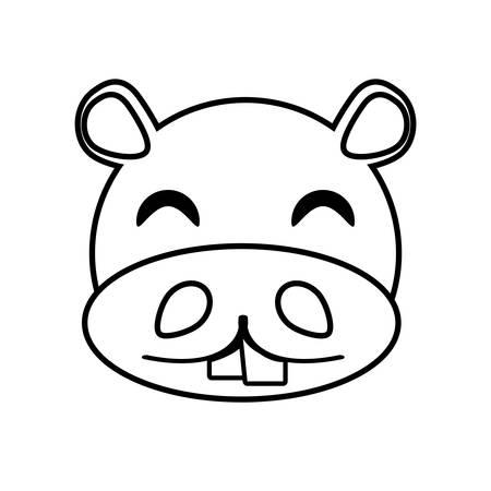 behemoth: hippo face animal outline vector illustration eps 10 Illustration