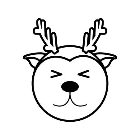 Outline reindeer head animal vector illustration eps 10