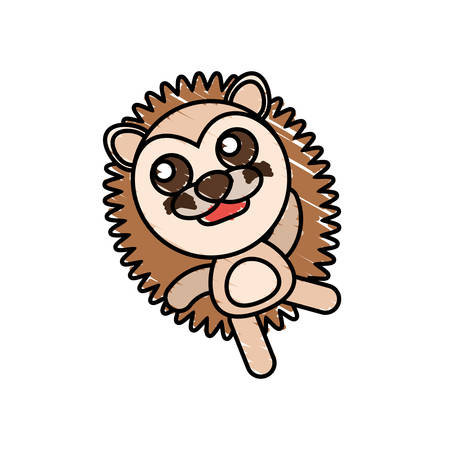 drawing porcupine animal character vector illustration eps 10