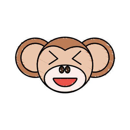 cute monkey drawing animal vector illustration Stock Vector - 76258673