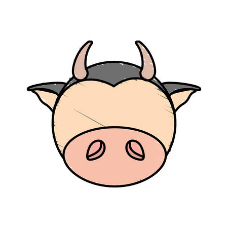 drawing cow face animal vector illustration eps 10