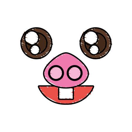 Drawing piggy kawaii face animal vector illustration eps 10