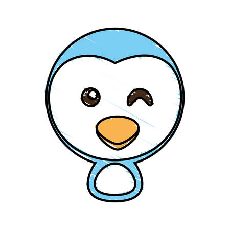 drawing penguin face animal vector illustration