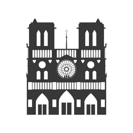 Notre Dame Cathedral icon vector illustratie grafisch ontwerp Stock Illustratie