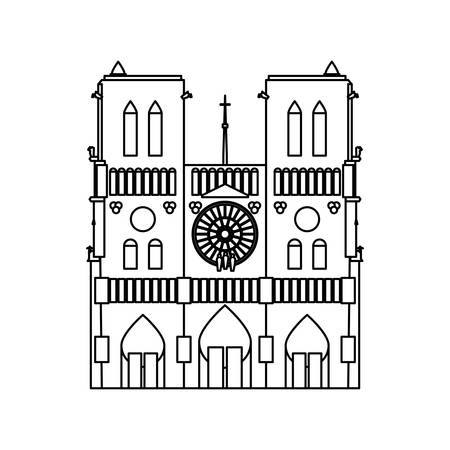 Notre Dame Cathedral icon vector illustration graphic design Illustration