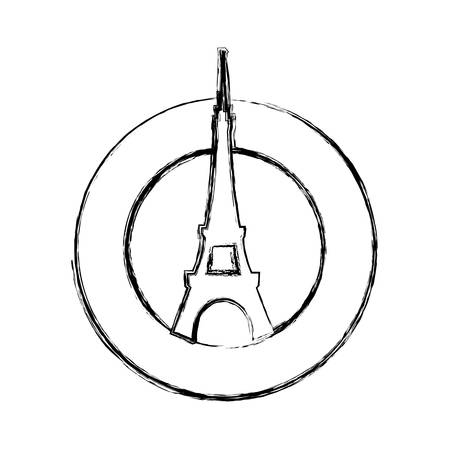 french culture: Eiffel tower architecture icon vector illustration graphic design