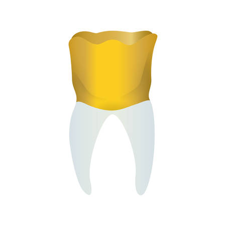 joyas de oro: Golden tooth jewerly icon vector ilustration mouth