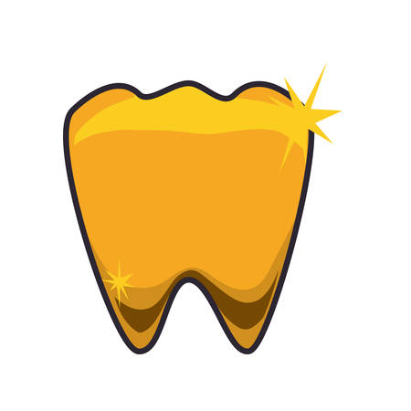 premolar: Golden tooth jewerly icon vector ilustration mouth